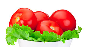 Fresh tomatoes with green salad leaf in Bowl isolated on white Royalty Free Stock Photo