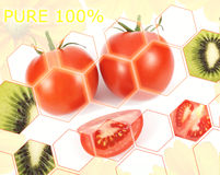 Fresh tomatoes and kiwi poster Royalty Free Stock Image