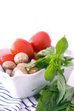 Fresh Tomatoes, Mushrooms and Basil Stock Images