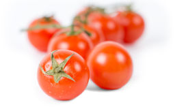 Fresh tomatoes with nutritious qualities. On white background, selective focus Stock Photography