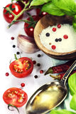 Fresh tomatoes, olive oil  and basil Royalty Free Stock Photo