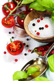 Fresh tomatoes, olive oil  and basil Stock Images