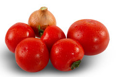 Fresh tomatoes and onion Royalty Free Stock Image