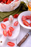 Fresh tomatoes over wood Royalty Free Stock Photography