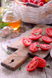 Fresh tomatoes over wood Royalty Free Stock Image