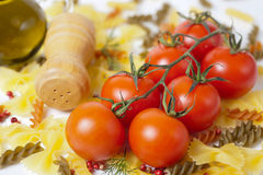Fresh tomatoes and pasta Stock Image
