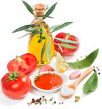 Fresh tomatoes with paste and spices Royalty Free Stock Image