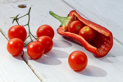 Fresh tomatoes and peppers stock photography