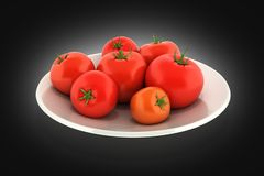 Fresh tomatoes on a plate on black gradient background 3d vector illustration