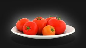 Fresh tomatoes on a plate on black gradient background 3d royalty free illustration