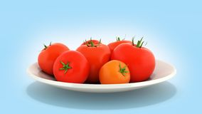 Fresh tomatoes on a plate on blue gradient background 3d stock illustration