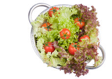 Fresh tomatoes with salad. Washed fresh tomatoes with salad in colander Royalty Free Stock Photography