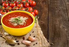 Fresh tomatoes soup Stock Image