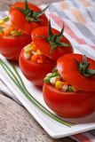 Fresh tomatoes stuffed with vegetables vertical Royalty Free Stock Photos