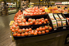 Fresh tomatoes in supermarket stock photo