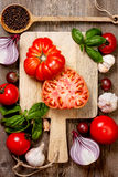 Fresh tomatoes, vegetables and spices Royalty Free Stock Photos