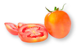 Fresh tomatoes with water drops on white. Background Stock Photo