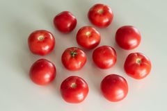 Fresh tomatoes on a white glass table. Harvesting tomatoes. Top view. royalty free stock photography