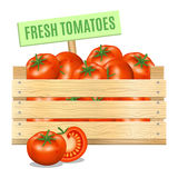 Fresh tomatoes in a wooden box on a white background. Vector. Icon Stock Image