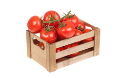 Fresh tomatoes in a wooden crate isolated Royalty Free Stock Image