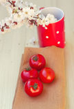 Fresh tomatoes on a wooden table Royalty Free Stock Photos