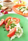 Fresh tomatos with cottage cheese Royalty Free Stock Photos