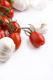 Fresh tomatos and garlic Royalty Free Stock Image