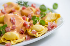 Fresh tortellini in light sauce with ham. Some fresh tortellini in light sauce with ham Stock Image