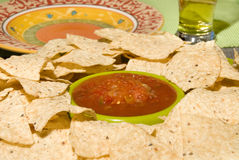 Fresh tortilla chips and salsa Royalty Free Stock Images