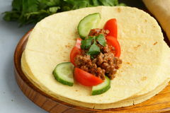 Fresh tortilla fajita wraps with beef and vegetables Stock Photography