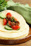Fresh tortilla fajita wraps with beef and vegetables Stock Photos