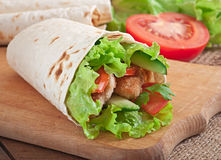 Fresh tortilla wraps with chicken nuggets Royalty Free Stock Photos