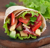 Fresh tortilla wraps with meat Stock Image