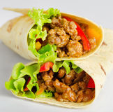 Fresh tortilla wraps with meat and vegetables Royalty Free Stock Photo
