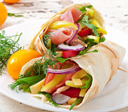 Fresh tortilla wraps with meat and vegetables Stock Photo