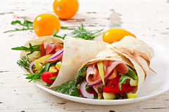 Fresh tortilla wraps with meat and vegetables Stock Photos
