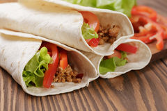 Fresh tortilla wraps with meat and vegetables Royalty Free Stock Photography