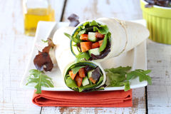 Fresh tortilla wraps with vegetables Royalty Free Stock Images