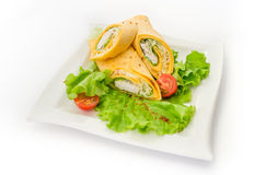 Fresh  tortilla wraps with vegetables on the plate Stock Photos
