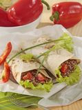 Fresh tortillas. With meat and vegetables stock photos