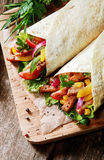 Fresh tortillas with a salad and meat filling Royalty Free Stock Images