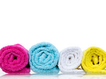 Fresh towels rolled-up front view Royalty Free Stock Image