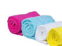 Fresh towels rolled-up general view Stock Images