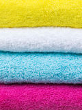 Fresh towels stack closeup front view Royalty Free Stock Photos
