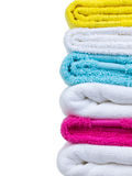 Fresh towels stack closeup side view Stock Photography