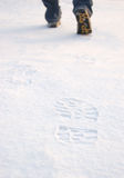 Fresh Tracks From Boots On Clean Snow Stock Photos