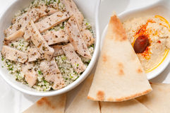 Chicken taboulii couscous with hummus Royalty Free Stock Photos