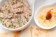 Chicken taboulii couscous with hummus Royalty Free Stock Images