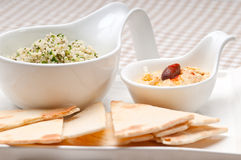 Taboulii couscous with hummus Stock Photo
