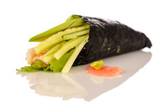 Fresh traditional japanese food on white Royalty Free Stock Images
